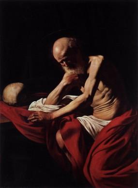 Michelangelo Merisi da Caravaggio, San Girolamo penitente, 1605-1606, olio su tela, 145,5 x 101,5 cm, Museu de Montserrat, Barcellona, foto di Daniel Rovira
