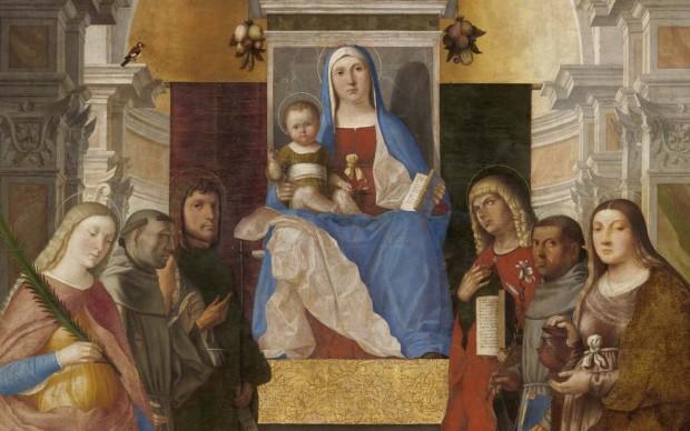Marcello Fogolino: Madonna col Bambino in trono tra i ss. Caterina, Francesco, G.Battista, M. Maddalena, Antonio da Padova, Giovanni evang., olio su tela, 266x195, 1510-1520