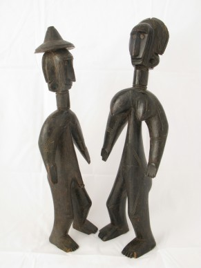 Jomooniw male and female figures, Bamana region, Mali, 19th-early 20th century Wood and metal, H. 40.5 cm, H. 43.3 cm Former collection of Henri Matisse. Private collection  Photograph by Robert Monnier