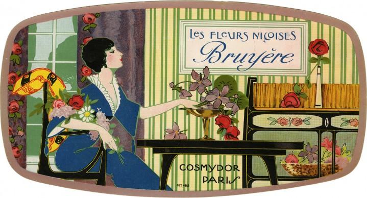 Les fleurs niçoises Bruyère,1930-40. Pubblicità profumeria Cosmydor, Parigi; etichetta per scatola di saponi profumati