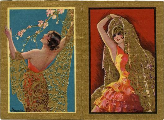 Trine e piume, 1931. Illustratore Adolfo Busi; Off G. Ricordi & C., Milano; pubblicità profumeria L.E.P.I.T, Bologna; calendarietto