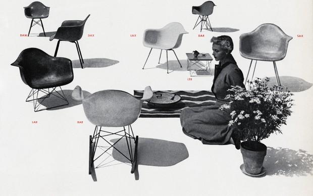 An Eames Celebration. Display of Eames Plastic Armchair models, Herman Miller catalogue, 1952. ∏ Herman Miller Archives