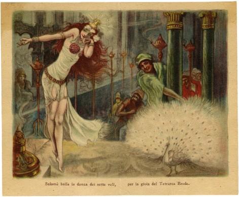 Salomè, 1924. Pubblicità profumeria Tosi, Milano; calendarietto al profumo 'Ora Mistica'