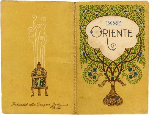 Oriente, 1926. Off. G. Ricordi & C., Milano; pubblicità profumeria Valli, Milano; calendarietto al profumo di 'Fougère Dorée'