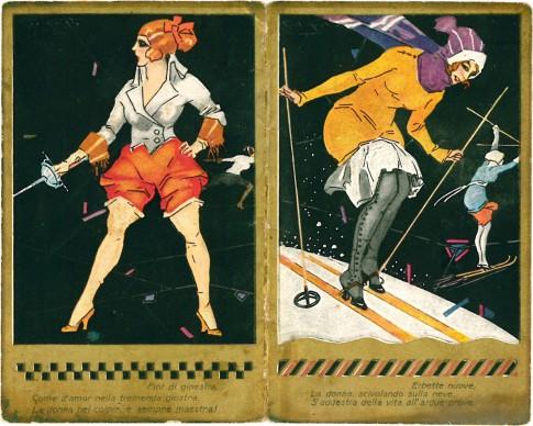 Sport, 1923. Illustratore Plinio Codognato; pubblicità profumeria Eugenio Fontanella, Milano; calendarietto