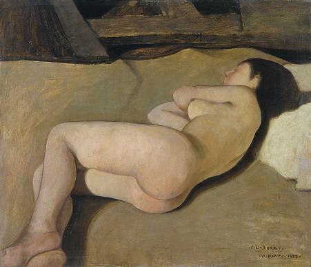 """Felice Casorati,  Studio per il """"Meriggio"""", 19 marzo 1922, Musei Civici Fiorentini – Museo Novecento, Firenze"""