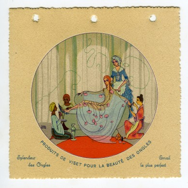 Parfumerie, 1924. Illustratrice Edina Altara; pubblicità profumeria Viset, Parigi; calendarietto; collezione Giancarlo Saccone, Milano