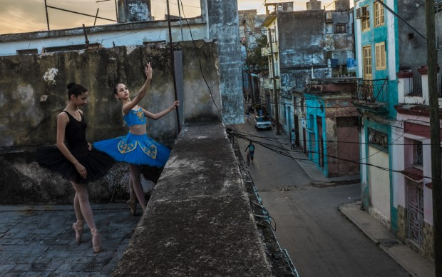 Leysis Quesada Vera--Avril and Thalia on the rooftop, Havana, 2017 (Annenberg Space for Photography)