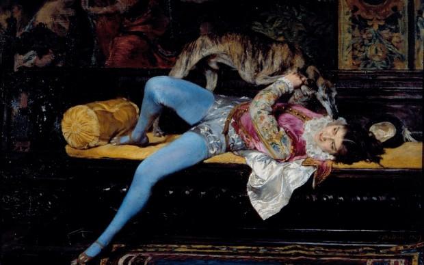 Giovanni Boldini, Giovane paggio che gioca con un levriero, 1869, olio su tavola, courtesy Società di Belle Arti - Viareggio