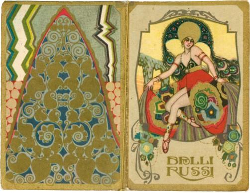 Balli Russi, 1928. Illustratore Sergio Nicolò De Bellis; pubblicità Farmacia Boscia, Pesaro; calendarietto