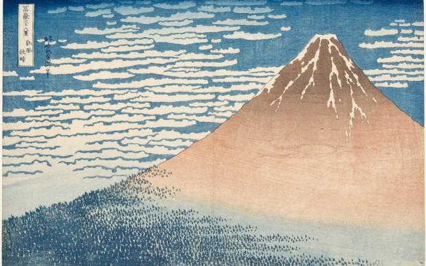 Katsushika Hokusai, Giornata limpida col vento del sud (o Fuji Rosso), dalla serie Trentasei vedute del monte Fuji, 1830-1832 circa, Kawasaki Isago no Sato Museum
