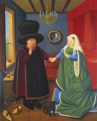 Fernando Botero,  Coniugi Arnolfini, 2006. Olio su tela, 205x165 cm