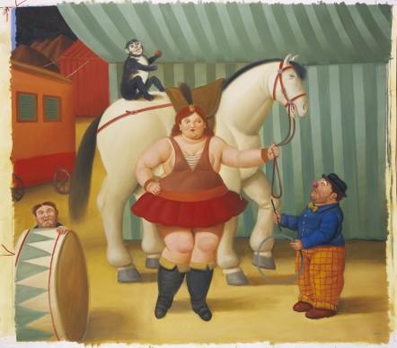 Fernando Botero, Gente di circo, 2007. Olio su tela, 139x153 cm