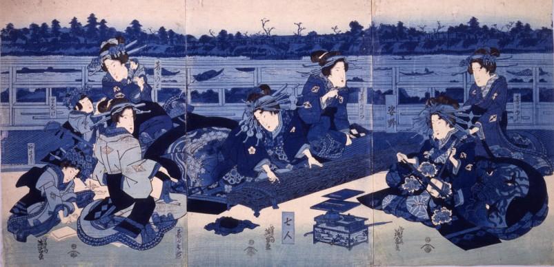 Keisai Eisen, Cortigiane e loro assistenti presso un accampamento temporaneo, 1836, Chiba City Museum of Art