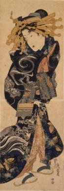 Keisai Eisen, Cortigiana che indossa un abito con disegni di nuvole e dragoni, 1818-1830 circa, Chiba City Museum of Art