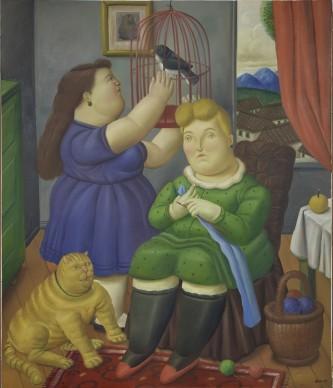 Fernando Botero, Famiglia con animali, 1998. Olio su tela, 205x174 cm