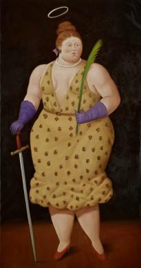 Fernando Botero, Santa Ursula, 2014. Olio su tela, 189x100 cm