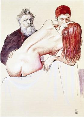 Milo Manara, illustrazione rappresentante Rodin