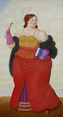 Fernando Botero, Santa Gertrude, 2014. Olio su tela, 186x99 cm