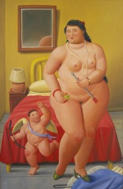 Fernando Botero, Venere e cupido. Olio su tela, 180x120 cm circa