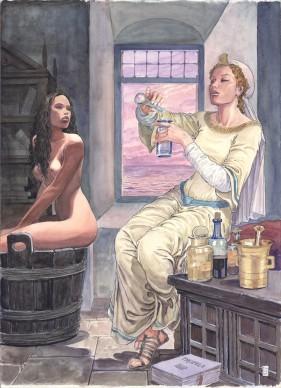 Milo Manara, illustrazione raffigurante Trotula de Ruggiero