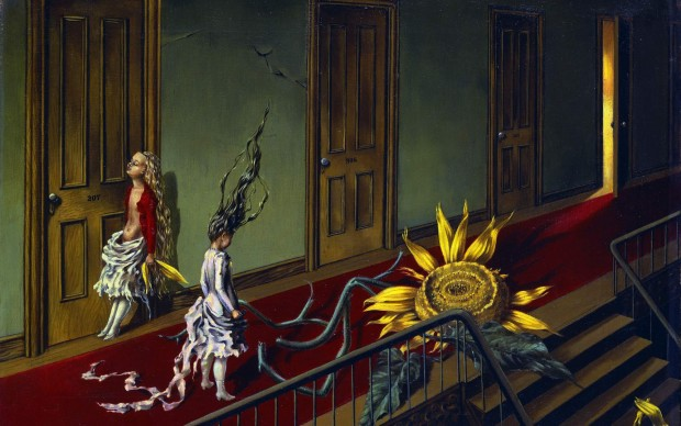 Dorothea Tanning (1910-2012) Little Nocturnal Serenade Eine Kleine Nachtmusik) 1943 Oil on canvas 40.7 x 61 cm Tate: Purchased with assistance from the Art Fund and the American Fund for the Tate Gallery 1997 © Tate, London 2017 © The Estate of Dorothea Tanning / ADAGP, Paris/ VEGAP, Málaga, 2017