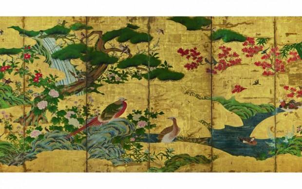 Scuola Kanō (copia da originale di Kanō Motonobu del 1550) Uccelli e fiori delle quattro stagioni Inizio del XVII secolo (periodo Edo; il dipinto originale è del 1550, periodo Muromachi) Coppia di paraventi a sei ante Inchiostro, colore e foglia d'oro su carta, cm 152,9 x 349 (ciascun paravento) Ōsaka shiritsu bijutsukan (Museo Municipale d'Arte di Osaka)