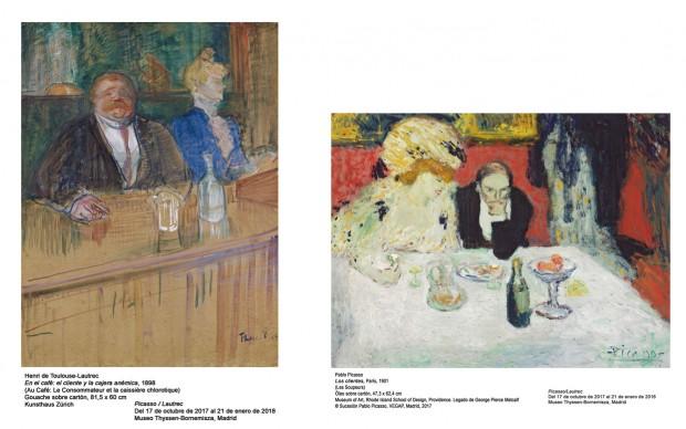 Henri de Toulouse-Lautrec, Au Café: le consommateur et la caissière chlorotique. Pablo Picasso, Les Henri de Toulouse-Lautrec, Au Café: le consommateur et la caissière chlorotique. Pablo Picasso, Les Soupeurs, 1901Souperus, 1901
