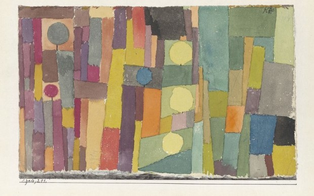 Paul Klee, In the Kairouan Style, Transposed in a Moderate Way, 1914, 211 Watercolor and pencil on paper, marginal stripe with pen at the bottom, on cardboard, 12.3 × 19.5 cm, Zentrum Paul Klee, Bern