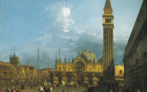 Canaletto, Piazza San Marco looking East towards the Basilica and the Campanile, c.1723-4, Royal Collection Trust