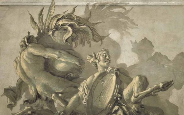 Giandomenico Tiepolo: Satiro con vaso e satiressa con tamburello