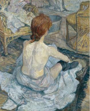 Henri de Toulouse-Lautrec, Pelirroja [Rousse] (La toilette), 1889,  Musée d'Orsay, París. Legado de Pierre Goujon, 1914