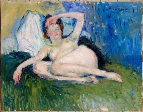 Pablo Picasso, Jeanne (Mujer tumbada [Femme couchée]), 1901, Musée national Picasso, París. Depósito del Centre Pompidou, París, Musée national d'art moderne/Centre de création industrielle. Legado de la Baronne Eva Gourgaud, 1965