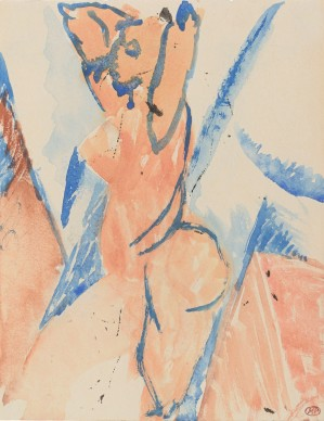 "Pablo Picasso, Estudio para ""Les Demoiselles d'Avignon"": desnudo de perfil con brazos levantados, (Étude pour ""Les Demoiselles d'Avignon"": nu de profil aux bras levés), 1907, Musée national Picasso, París. Dación Pablo Picasso en 1979"
