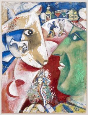 Marc Chagall, Ich und mein Dorf (Moi et mon village), 1911 © Kunstmuseum Basel, Kupferstichkabinett / ProLitteris, Zürich