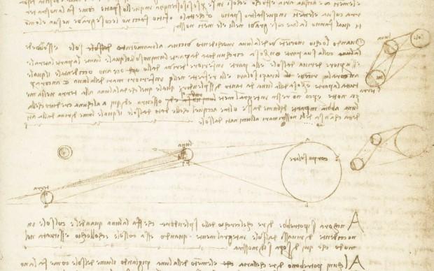 Leonardo da Vinci, Codice Leicester: studi sulla riflessione dei raggi solari dalla Terra alla Luna