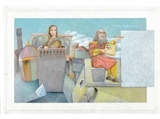 Letizia Galli, un'illustrazione dal libro Monna Lisa. Il segreto del sorriso, in mostra a Venezia