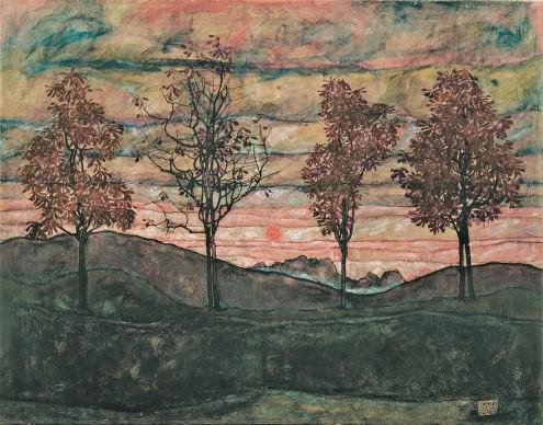 Egon Schiele, Four Trees, 1917. Belvedere, Vienna. Foto: Belvedere, Vienna