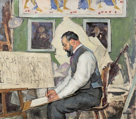 Emil Orlik, Ferdinand Hodler designing the murals for Hanover Tower Hal. Private collection. Foto: Private collection.