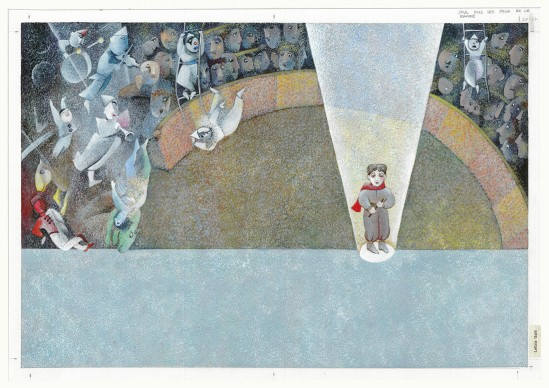 Letizia Galli, un'illustazione dal libro Il sogno di Federico. Una storia dell'infanzia di Federico Fellini, in mostra a Venezia