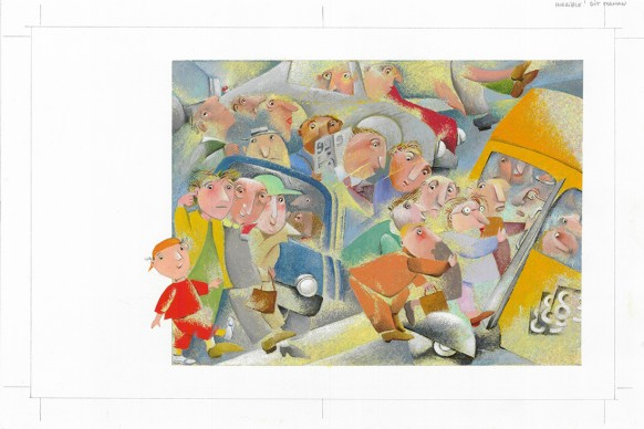Letizia Galli, un'illustrazione del libro Willy's Stadt (La musica della città), in mostra a Venezia