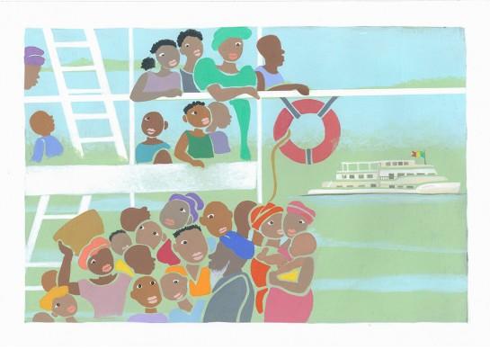 Letizia Galli, un'illustrazione del libro Alla curva del fiume Joliba, in mostra a Venezia