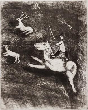 Marc Chagall, Il cavallo che vuole vendetta dal cervo, acquaforte