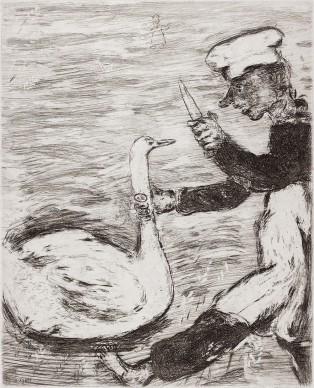 Marc Chagall, Il cigno e il cuoco, acquaforte