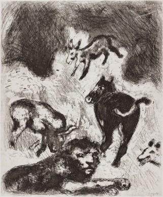 Marc Chagall, Il leone divenuto vecchio, acquaforte