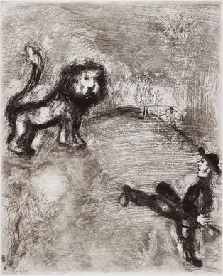 Marc Chagall, Il leone e i cacciatori, acquaforte