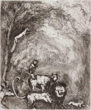 Marco Chagall, Il leone va in guerra, acquaforte