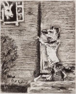Marc Chagall. Il lupo, la capra e il capretto, acquaforte