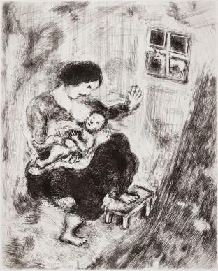 Marc Chagall, Il lupo, la madre e il bambino, acquaforte