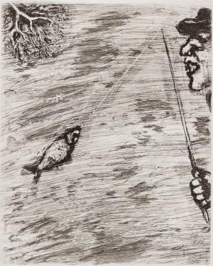 Marc Chagall, Il pesciolino e il pescatore, acquaforte